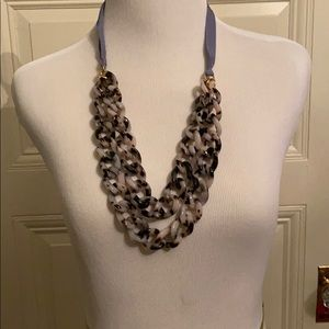 JCrew tiger striped necklace with ribbon tie